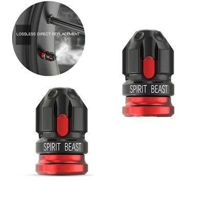 2pcs CNC Motorcycle Tire Valve Cap Cover Wheel Decoration Accessories Black+Red