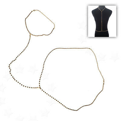 Lady Body Chain Jewellery Bikini Waist Gold Belly Chain Harness Slave Necklace