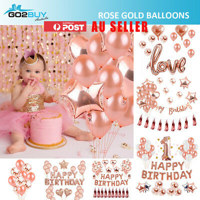 Rose Gold Helium Foil Confetti Balloons Set Birthday Wedding Party Decorations