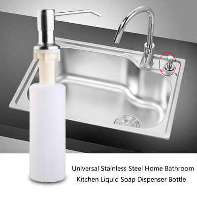 Universal Stainless Steel Home Bathroom Kitchen Liquid Soap Dispenser Bottle AZ