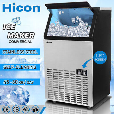 HICON Commercial Auto ICE Cube Maker Machine for Home Business Bar 60Kg/Day Fast