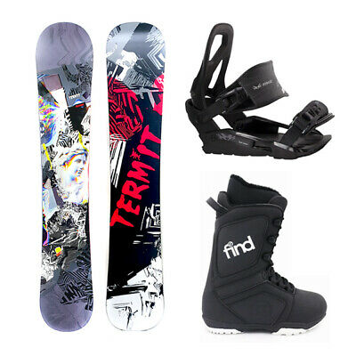 Termit Illusion Flat Rocker 161cm Wide snowboard Package with Bindings & Boots