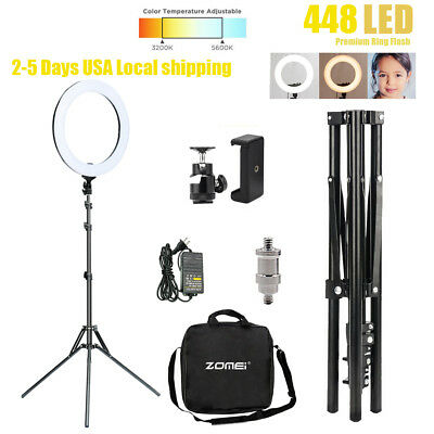 """18"""" LED Photography Dual Ring Light Dimmable 5500K Lighting Photo Video W/ Stand"""