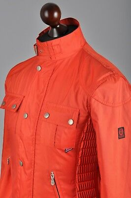 Men's BELSTAFF Gangster Gold Label Red Polyamide Full Zip Biker Jacket Coat 48 S