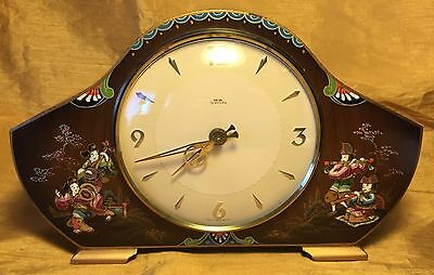 Vtg SMITHS Tempora English Chinoiserie Hand Painted Mantel Clock w Musicians