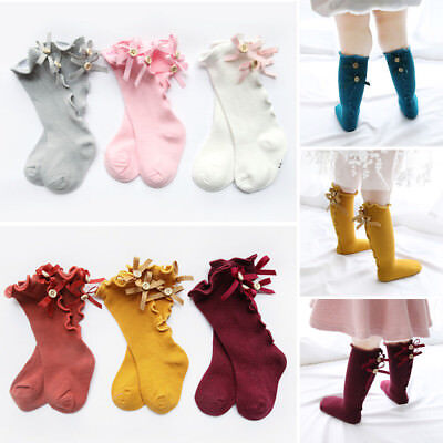 Baby Girls Toddler Cotton Bow Knee High Socks Tights Warmer Stockings For 0-8Y