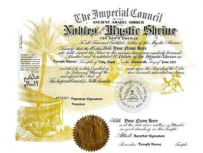 PERSONALIZED Shriner's Nobles of Mystic Shrine Record Certificate ring art print