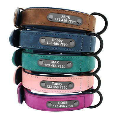Soft Padded Personalized Leather Dog Collar Name ID for Small Medium Large Dogs