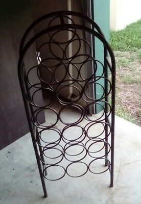 18 Bottle Wrought Iron looking wine rack stand in Black - Very Good Condition