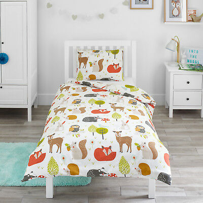 Woodland Animals Childrens Bedding Boys Girl Duvet Cover & Pillowcase Set Gift