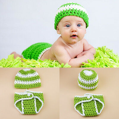 Baby Knitted Crochet Hat Diaper Cover Photography Props Green Beanie Costume