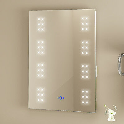 500MM x 700MM LED ILLUMINATED BATHROOM MIRROR SHAVER / DEMISTER / SENSOR IP44