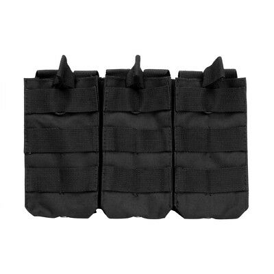 VISM Triple Rifle Magazine Pouch BLACK Bungee MOLLE Mount fits 5.56 & 7.62 Mags