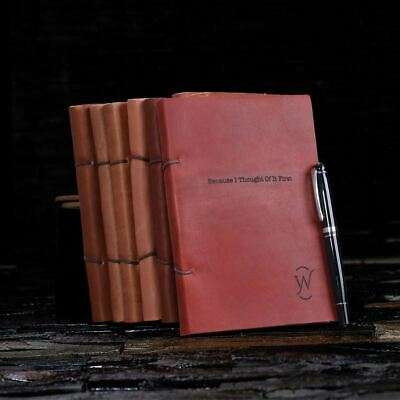 Personalized Full-Grain Leather Journal Notebook Diary Engraved Gift for Writers