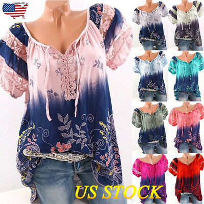 Women Short Sleeve Loose T Shirts Fashion Ladies Summer Casual Blouse Tops Shirt
