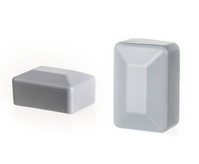 25 caps grey post end rectangular plastic fence accessories cover tube plug