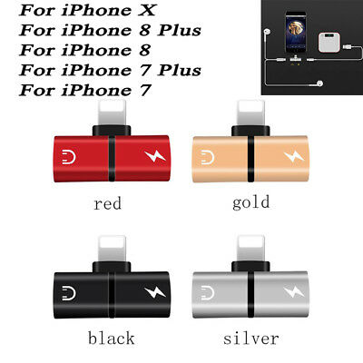 For iPhone X 8 7 Plus 2in1 Dual Lightning Adapter Charging Splliter Audio Red F1