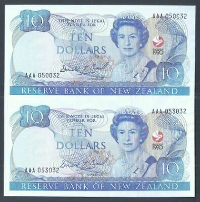 New Zealand 1990 $10 Note Uncut Pair (UNC) AAA Series
