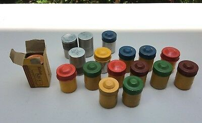 Vintage 35mm Kodak and Ansco Canister Lot of 17 Cans with Developed Film