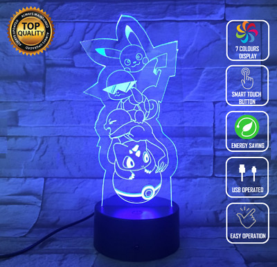 Light 7 Table Pokemon Night Pokeball Pikachu Touch Led Colour Lamp 3d Acrylic WH92IED