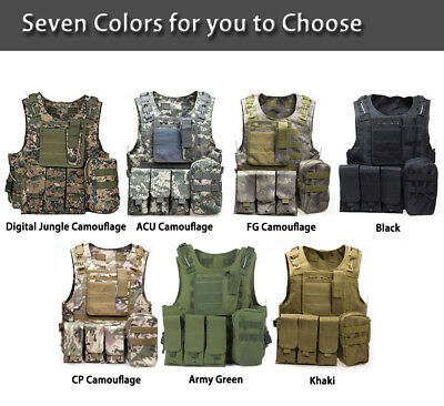 Unisex Adjustable Tactical Military Airsoft Molle Combat Police Army Plate Vest