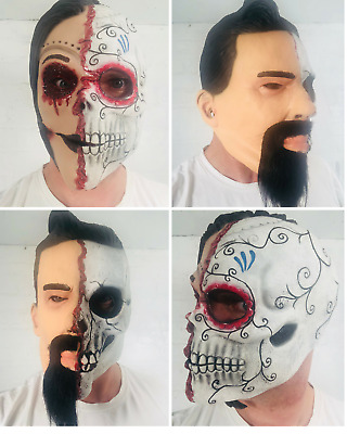 White Male Female Half Face Human Day of the Dead Skull Latex Halloween Mask