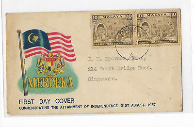 Malaya 1957 Merderka official FDC 10 cents stamp pair postally sent