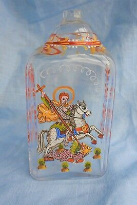 Vintage Dutch Hand Painted Flask with George and the Dragon
