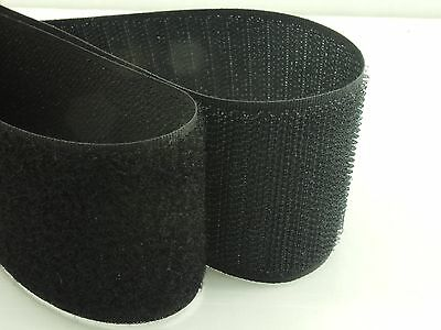 1M or 2M x High Quality BLACK 50mm SEW On HOOK and LOOP Fastener TAPE Strap