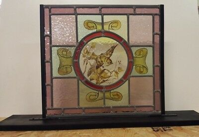 Stained Glass Hand-Painted Bird Center & Scrolls - Free Standing Base