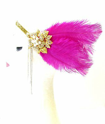 Hot Pink Gold Silver Feather Headpiece 1920s Flapper Headband Ostrich Vtg 1755