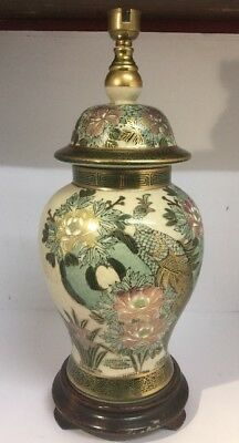 MID 20th C HANDPAINTED JAPANESE SATSUMA LAMP BASE, DECORATED WITH BIRDS / NICE.