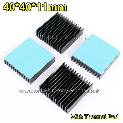 2pcs 40x40x11mm Black Anodized Aluminum Heatsink With Thermal Tape For CPU LED