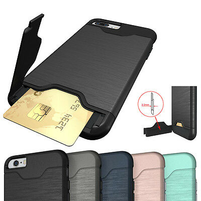 for Apple iPhone 6S 7 8Plus Shockproof Armor Back Card Slot Stand Case Cover