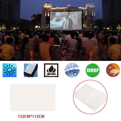 White 60 Inch 4:3 Movie Screen Projector Curtain Home Cinema Church Office 29AB