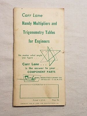 1965 Carr Lane Handy Multipliers And Trigonometry Tables For Engineers