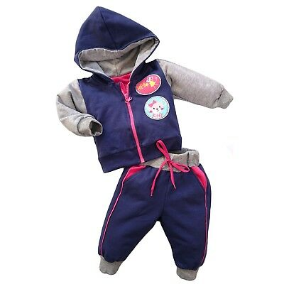 BNWT Baby Girls Tracksuit Set Hooded Jacket & Trousers Joggers 0-3/3-6/6-9/9-12m