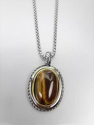 GORGEOUS Designer BALINESE Silver Cable Tigers Eye Stone Oval Pendant Necklace
