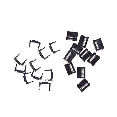 10X FC-10P IDC 2.54mm Connector Female Header 10pin 2x5 JTAG ISP Socket Black TW