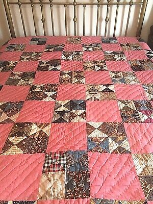 Antique 1880 Calico's Bow Tie Large Hand Quilted Quilt