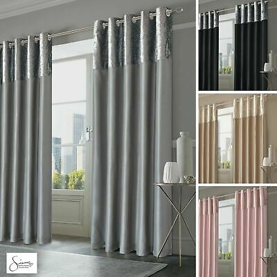 Sienna Crushed Velvet Band Curtains PAIR Eyelet Faux Silk Fully Lined Ring Top