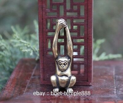 6 CM Pure Bronze Copper Chinese Zodiac Animal Long Arms Monkey Amulet Pendant