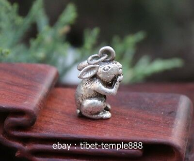 3 CM Miao Silver Handwork Chinese Zodiac Animal Lucky rabbit Amulet Pendant