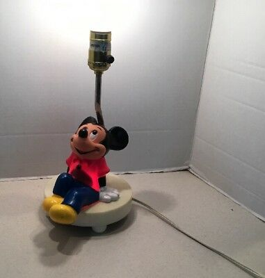 Vintage 1980s Walt Disney Mickey Mouse Lamp Without Shade - Works !