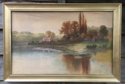 Large Antique Oil On Canvas Painting In Gold Gilt Frame, Signed Owens