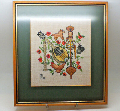 Vintage Hand Embroidered Picture Musical Instruments framed picture Made in 1990