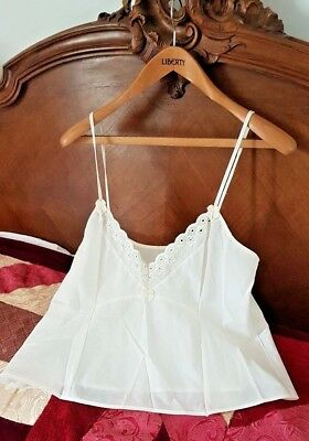 Vintage Kayser Camisole Top Ivory Size 16 Broiderie Anglaise Trim Bows (T102)