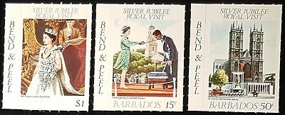 Barbados 1977 Royal Visit Sg590-592 Set Of 3 Bend And Peel MNH (No596)*