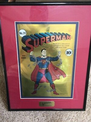 1939 Golden Age Superman No.11 Chrome Cover Art Picture Frame 14.2 X 11.2