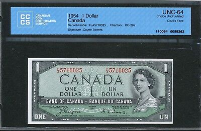 1954 $1 Devil's Face Hair Bank of Canada CCCS Choice UNC-64. Coyne-Towers BC-29a